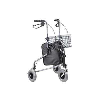 Aidapt Chrome Tri-Walker with Positive Folding Lock with Bag and Basket